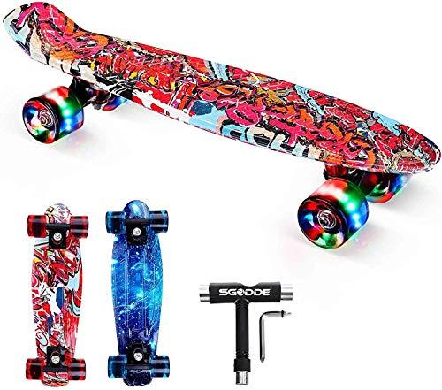 SGODDE Skateboard Komplette 56cm/22 Mini Cruiser Board Retro Komplettboard für Anfänger Kinder Jugendliche Erwachsene,56x15cm Komplett Board mit ABEC-7 Kugellager,LED PU Leuchtrollen,T-Tool (Rot-)