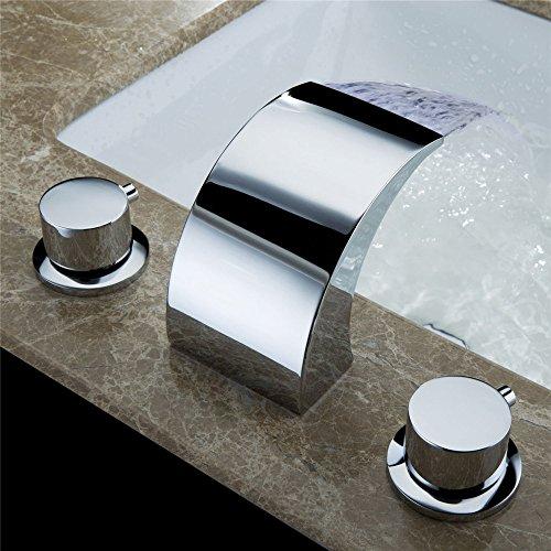 WasserhahnTap Cuivre placage de matériaux Ensemble de Trois pièces lavabo à Trois Trous à lumière de Couleur LED Robinet à poignée Unique à Cascade