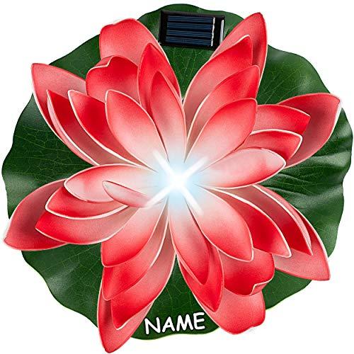 alles-meine.de GmbH Solar - LED Licht - schwimmende Seerose - rot & weiß - inkl. Name - Ø 29 cm - Leuchte - Blume Blüte - Solarblume - Garten Wetterfest für Innen Außen - Wasser ..