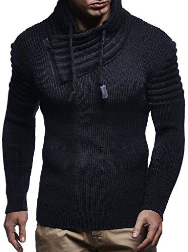 Leif Nelson Men's Hoodie Pullover Knitted Sweater Sweatshirt Jumper Winter Longsleeve LN5445; Large, Black-Anthracite