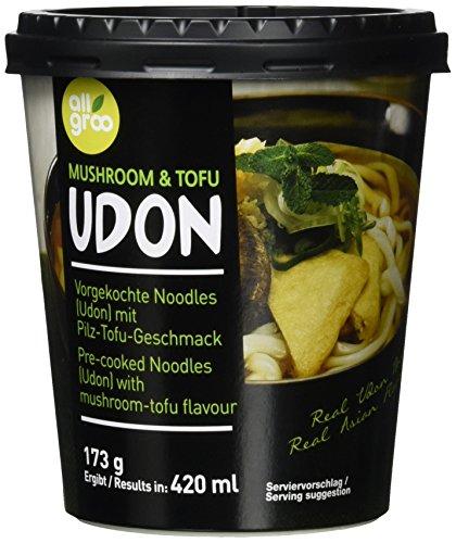 Allgroo Udon Cup-Instantnudeln - Tofu und Pilze, Udon Suppe, würzig und aromatisch - schnelle Zubereitung (1 x 173 g)