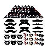 Juego de 36 piezas para fiesta de piratas, pañuelos, barbas, parches para los ojos y anillos en diseño piratas, perfecto para fiestas temáticas y cumpleaños