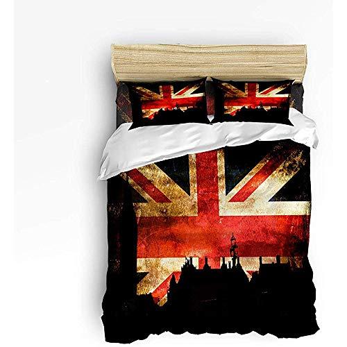 Sherly Yard Juego de Cama de 3 Piezas, Inglaterra Gran Bretaña Conjunto de Funda nórdica de Bandera británica Edredón para Adolescentes/Adultos Queen Size 1 Funda nórdica y 2 Fundas de Almohada