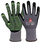 Padua Grip - Guantes de trabajo (10 pares, espuma de nitrilo, granulados, talla 7), color verde