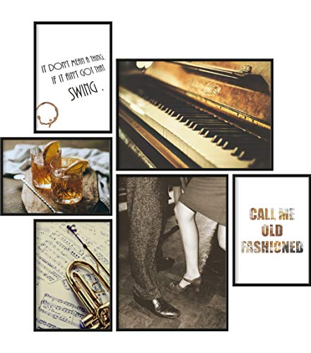 Poster Set Jazz | 6 Bilder als stilvolle Wanddeko | 2X DIN A4 und 4X DIN A5 | Musik Klavier Trompete