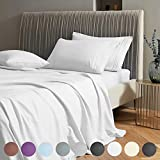 SAKIAO Queen Size Bed Sheets Set - Brushed Microfiber 1800 Thread Count Percale - 16' Deep Pocket Egyptian Sheets Beautiful Breathable Wrinkle Free & Fade Resistant - 4 Piece (White,Queen)