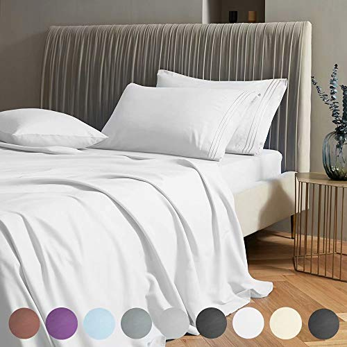 SAKIAO Full Size Bed Sheets Set - Brushed Microfiber 1800 Thread Count Percale - 16' Deep Pocket Egyptian Sheets Beautiful Breathable Wrinkle Free & Fade Resistant - 4 Piece (White,Full)