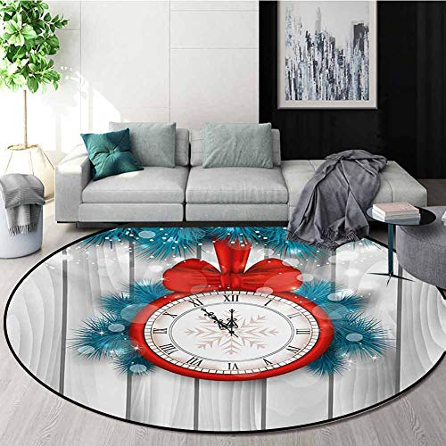 Check Out This Clock Round Area Rugs Super Soft Living Room,New Year Celebration Midnight A Clock an...