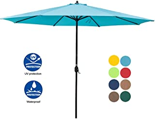 Sundale Outdoor 11 Feet Round Market Patio Umbrella 1.9in Bronze Aluminum Pole with Crank, Sun Protection and Fade Resistant Canopy, No Push Button Tilt, Blue