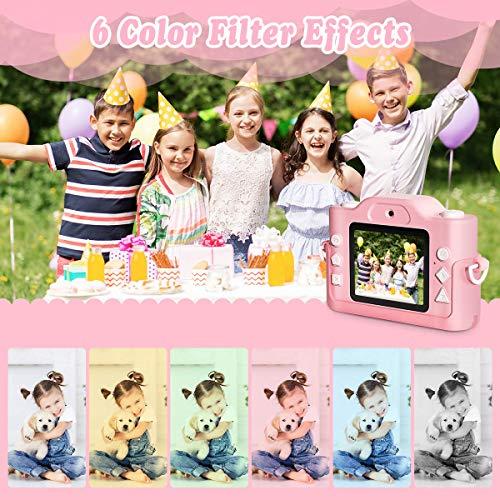 ZumYu Kinderkamera, Digital Kinder Fotokamera und Videokamera mit Dual Lens/ 2 Inch Bildschirm/ 1080P HD/ 32G TF Karte, Geschenk für Mädchen
