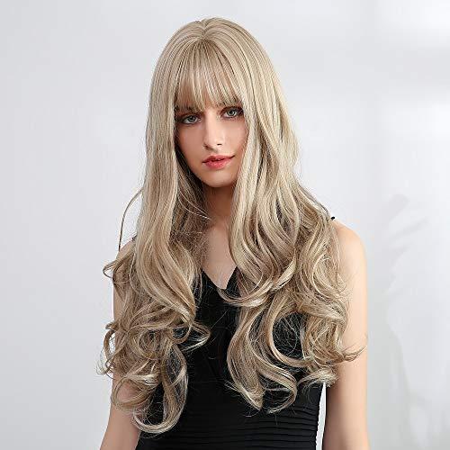 Licht blond 24 inch Wave pruik met pony Ladies Fashion Sexy lange gelaagde Flick golvende stijl hittebestendige synthetische Natuurlijke Pruiken