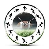 Relojes de Pared America Football Ball Reloj de Pared Moderno Jugadores de fútbol Reloj de Pared Colgante sin tictac silencioso Arte Deportivo Aficionados al Rugby Decoración del hogar