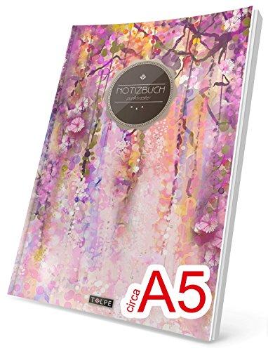 """TULPE Punktraster Notizbuch: Ca. A5 """"C058 Frühjahr"""" (Vintage Softcover, Register, Punktkariertes Papier - Bullet Journal, Notizheft, Skizzenbuch, Tagebuch, Gepunktete Seiten, Dot Grid Notebook)"""