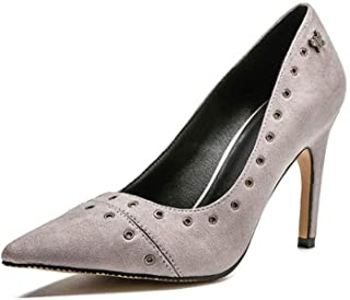 KTYXDE High-Heeled Shoes Women's High-Quality Materials Fashion Sexy Pointed High-Heeled Shoes Comfortable Women's Shoes Work Shoes Spring and Summer 9CM Black Gray Pink Women's Shoes