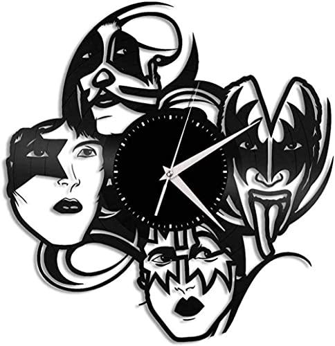 wwccy Kiss Band Vinilo Reloj de Pared música diseño de Arte único Regalo decoración para el hogar diseño Retro Oficina Bar habitación decoración para el hogar