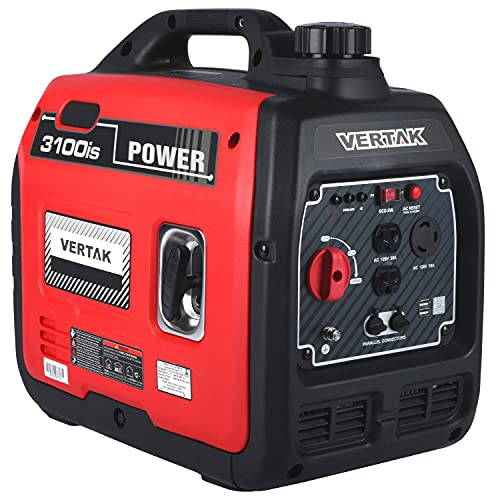 VERTAK 3100 Watt Gas Powered Portable Inverter Generator with Auto Switch&Shut-Off - 2021 New 120V Quiet Lightweight Portable Power Station for Outdoor Home Emergency Use