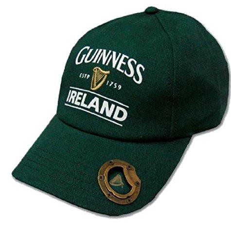 Guinness Bottle Green Baseball Cap with Bottle Opener and Ireland Est. 1759 Text