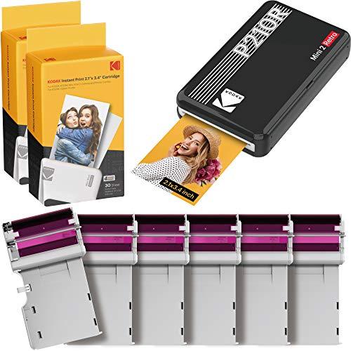 """Kodak Mini 2 Retro 2.1 x 3.4"""" Stampante fotografica portatile + 6 cartucce, Foto istantanee formato 54x86mm, Bluetooth e compatibile con smartphone iOS e Android - Nera"""
