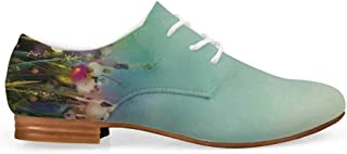 Watercolor Flower Home Decor Comfortable Leather Shoes for Women,Poppy Daisy Chamomile Patterns in Meadow Wild Feminine Rural Print for Women Girls,US 5