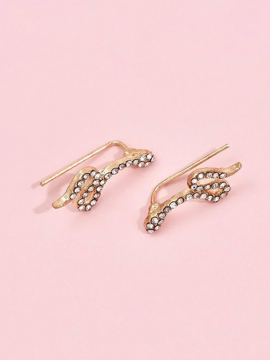 ANBF Hoop Earrings 2pcs Rhinestone Decor Snake Design Ear Cuff (Color : Gold, Size : OneSize)