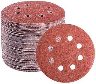 72 PCS 5 Inch 8 Hole Hook and Loop Adhesive Sanding Discs Sandpaper for Random Orbital..