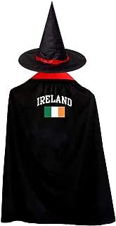 Vintage Ireland Irish Flag Green St. Patrick's Day Kids Halloween Cosplay Coat Cloak with Hat Boy Girl Chirstmas Dress Up
