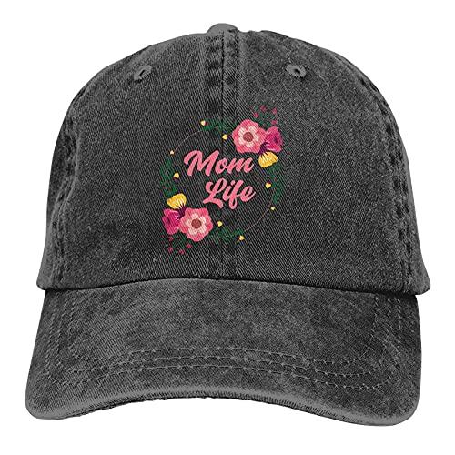 Gymini Precioso Floral Mamá Vida Madre Día Sombreros Algodón Lavable Gorras De Béisbol Ajustable Para Hombre Mujer Negro