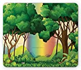 Forest Mouse Pad, Graphic Rainforest Nature Illustration with Rainbow and Mountains at The...