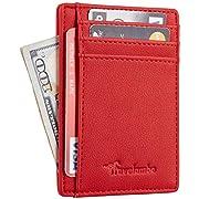 Travelambo Front Pocket Minimalist Leather Slim Wallet RFID Blocking Medium Size(VP Red)