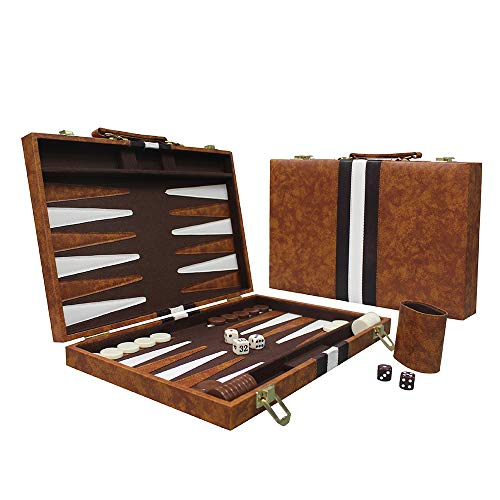 Sun Flair Backgammon Set Leatherette 15 inch, Folding Classic Board Game, Smart Tactics Premium Best Strategy, Tip Guide Enclosed, Brown 135M-1