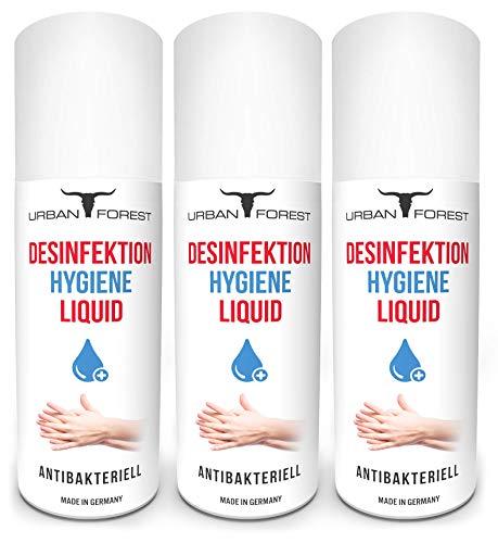 Desinfektionsmittel Hand & Haut | Desinfektion für Hände | Antiseptika & Desinfektionsmittel für unterwegs | Hände-Desinfektionsmittel für die Reise von URBAN FOREST (3x 150ml LIQUID)