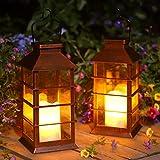 Linterna Solar Exterior Lámpara de Jardín, juego de 2, IP44 Impermeable Luces LED Parpadeantes Sin Llama Plástico Exterior Decorativa Iluminación para Mesa Patio Festival Navidad