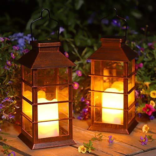 Linterna Solar Exterior Lámpara de Jardín, juego de 2, IP44 Impermeable Luces LED Parpadeantes Sin Llama Plástico Exterior Decorativa Iluminación para Mesa Patio Festival Navidad (Bronce)