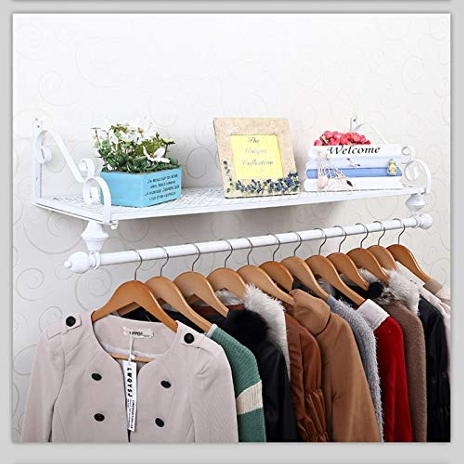 WFFXLL Iron Coat Rack Garment Hanger Wall Mounted, Single Rail Clothes Holder and Storage Floating Shelf for Entryway Hallway Bedroom Bathroom Coat Rack (color   White, Size   60x28cm)