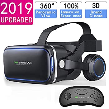 VR Headset with Remote Controller,HD 3D VR Glasses Virtual Reality Headset for VR Games & 3D Movies VR Headset for iPhone/Android phone Compatible 4.7-6 inch