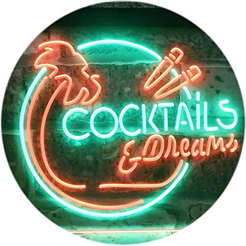 ADV PRO Cocktails & Dreams Bar Pub Club Dual Color LED Enseigne Lumineuse Neon Sign Vert et Rouge 300 x 210mm st6s32-i3163-gr