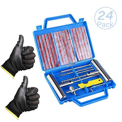 N\A Yolistar Kit de Réparation de Pneu 24PCS,Coffret de Réparation Outils de Réparation Vélo/Moto Multifonctionnel,Kit de Reparation avec Mèches pour Pneu, Gants