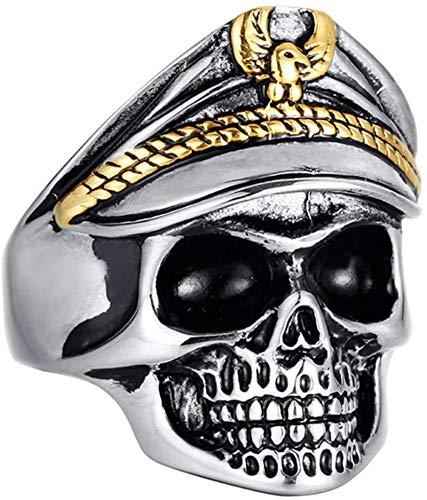 QAZXCV Herren Edelstahl Weinlese-Adler-Kappe Schädel-Ring Anti-Kriegsdenkmal Undead Legion Schädel-Ring Für Männer Adjustable Armee-Schädel-Ring-Soldaten Ring Schmuck Geschenk,b,13