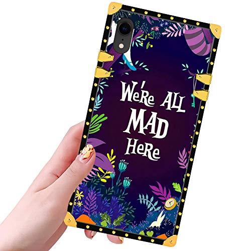 DISNEY COLLECTION Square Phone Case for iPhone XR (6.1 inch) Luxury Glitter Cool Cute Bumper Shockproof Cover for iPhone Xr (Alice in Wonderland)