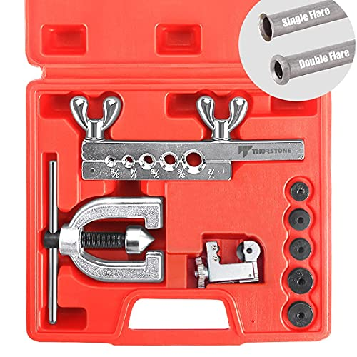 Thorstone Double & Single Flaring Tool Kit for Brake Line and Brass Tubing Tool with Extra Adapters, 45 Degrees, Red