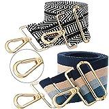 2 Pieces Wide Adjustable Purse Strap Replacement Crossbody Handbag Strap Guitar Style Stripe Belt (Ethnic Style,5.2 cm)