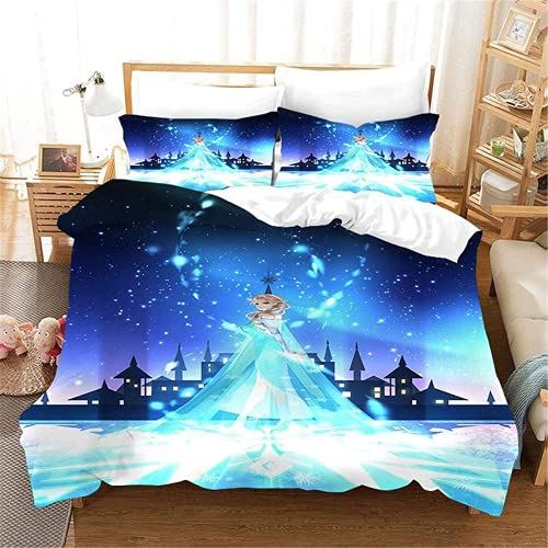 QWAS El juego de ropa de cama de la princesa Disney Aisha y Anna de microfibra completa el sueño de la princesa infantil (A01,135 x 200 cm + 50 x 75 cm x 2).