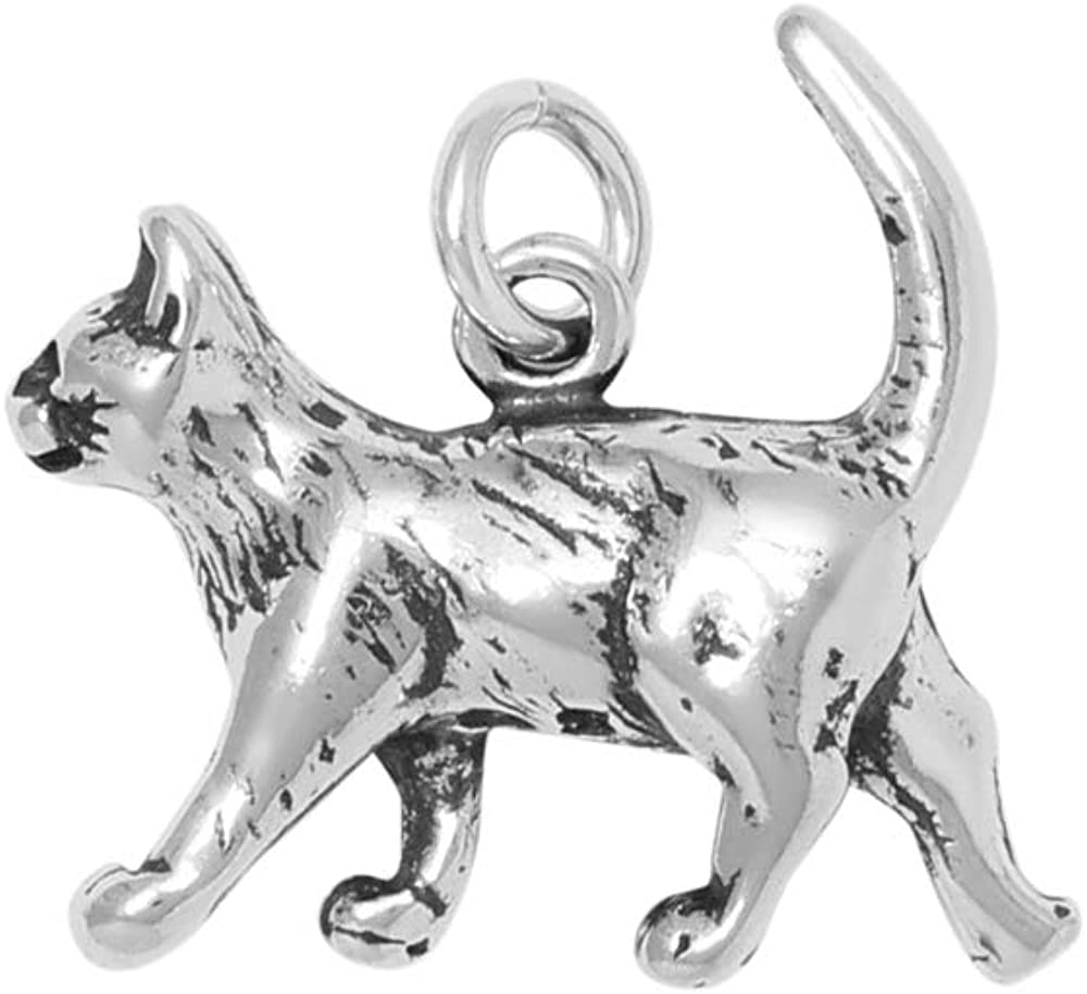 Popularity Raposa Elegance Sterling Silver 3D Cat Charm Necklace 1 Walking Excellent