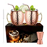 LIVEHITOP Moscow Mule Copper Mug Set of 2 PCS, 18 Oz Copper Cup with 2 Coasters, 2 Straws, Jigger & Straw Brush, His & Hers Gift for Home, Bar, Party