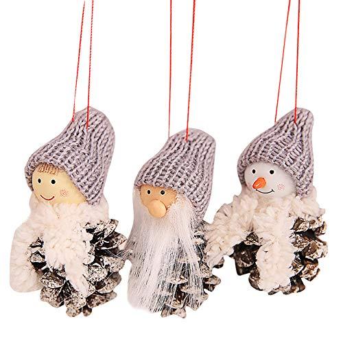 FeiliandaJJ Weihnachten kreative alte Mann Puppe kleine hängende White Pine Cone Puppe hängen 3 Pie (C)