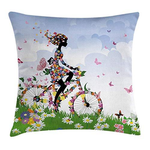Funda de cojín para cojín para Exteriores, Mujer Montando Bicicleta romántica Vintage con Flores de Primavera en la Cesta Imagen de la Naturaleza, 45 x 45 cm, Verde Azul