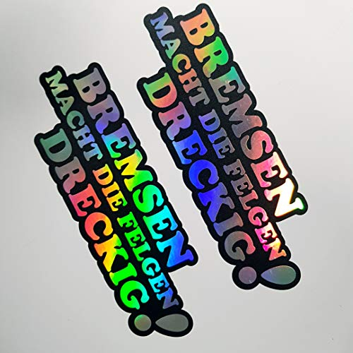 2x Bremsen macht die Felgen Dreckig Hologramm Oilslick Rainbow Flip Flop Schwarz Aufkleber Metallic Effekt Shocker Hand Auto JDM Tuning OEM Dub Decal Stickerbomb Sticker Illest Dapper Fun Oldschool
