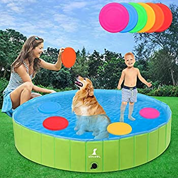 """Foldable Dog Pools 65"""" XL Larger Dogs Portable Bathtub for Kids Pet Swimming Pool for Large Dogs and Cats Perfect Backyard/Outside Water Playing"""