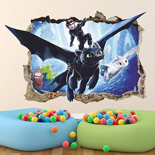 Wie Drachenzähmen 3D Wandtattoo Zahnlos Leichte Wut Schluckauf Wandaufkleber Abnehmbare Vinyl Aufkleber Wandkunst Kinder Dekor