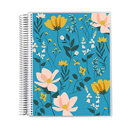 """8.5"""" x 11"""" Teacher Lesson Planner (August 2021 - July 2022) - Wild Flowers Cover with Mid Century Circles Style Internal Pages. Dated Weekly and Monthly Spreads by Erin Condren."""